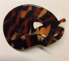Lea Stein Tortoiseshell  Sleepy Cat Brooch  SOLD
